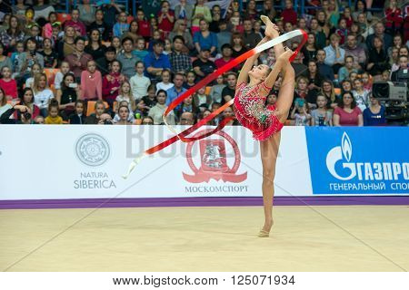 MOSCOW, RUSSIA - FEBRUARY 21, 2016: Averina Arina, Russia on Rhythmic gymnastics Alina Cup Grand Prix Moscow - 2016 in Moscow sport palace Luzhniki, Russia