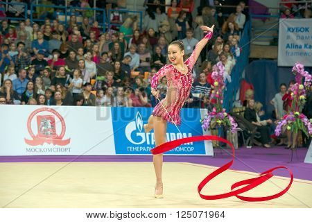 MOSCOW RUSSIA - FEBRUARY 21 2016: Son Yeon Jae Korea on Rhythmic gymnastics Alina Cup Grand Prix Moscow - 2016 in Moscow sport palace Luzhniki Russia