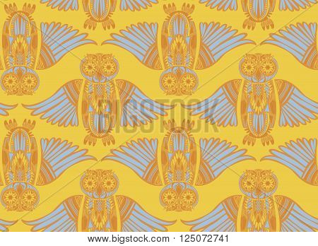 Light hand-drawn abstract Owl pattern. Stylish surface design. Ancient bird drawing