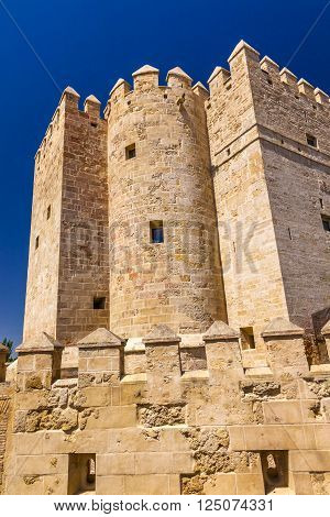Ancient Calahorra Tower Roman Bridge Cordoba Spain  Roman bridge was built in the 1st Century BC.