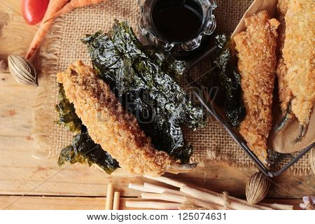 shishamo fried with sause is a delicious