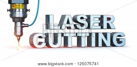 Macro view of industrial digital CNC - computer numerical control CO2 invisible laser beam cutter machine cutting stainless steel sheet with lot of bright shiny sparkles with symbol text isolated on white background
