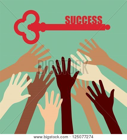 Group of Diversity Hand Reaching For The Key Success
