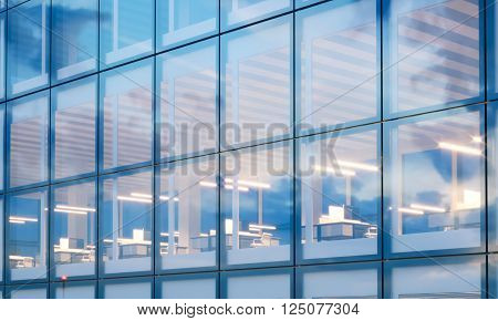Closeup photo of modern skyscraper interior.Office floor in evening time.Panoramic windows facade background, contemporary business center.Empty workspace. Real horizontal mockup, flares. 3D rendering