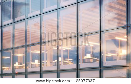 View of modern skyscraper. Modern office interior in night time. Panoramic windows facade background, contemporary business center. Empty meeting room. Real horizontal mockup, flares. 3D rendering