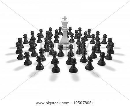 Chess pawn around chess king. 3D render.