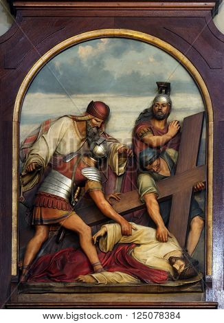 ZAGREB, CROATIA - SEPTEMBER 14: 9th Stations of the Cross, Jesus falls the third time, Basilica of the Sacred Heart of Jesus in Zagreb, Croatia on September 14, 2015