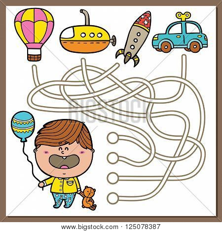 Baby boy educational maze game. Vector illustration of maze (labyrinth) educational game with cute Boy and rocket for children