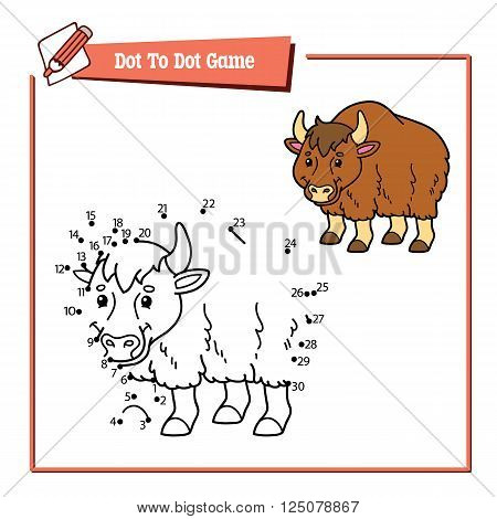 dot to dot yak educational kid puzzle game. Vector illustration educational kids game of dot to dot puzzle with happy cartoon yak for children
