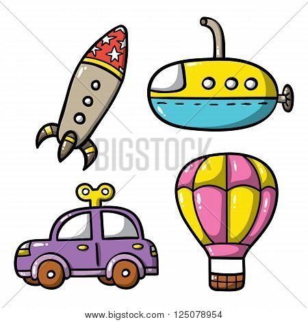 doodle transportation icons set. Vector illustration of funny icons set: doodle rocket, doodle car, doodle submarine and hot air balloon.Good for baby shower and baby boy sticker