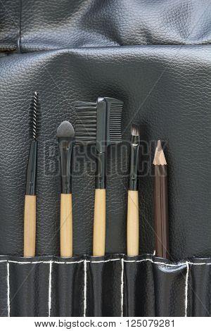 Top View Of Professional Makeup Brush Set