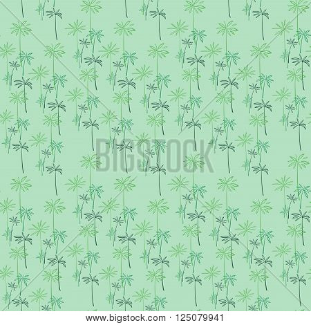 A seamless vector pattern, with an abstract floral elements. Stylized umbrella papyrus leaves, on green background.