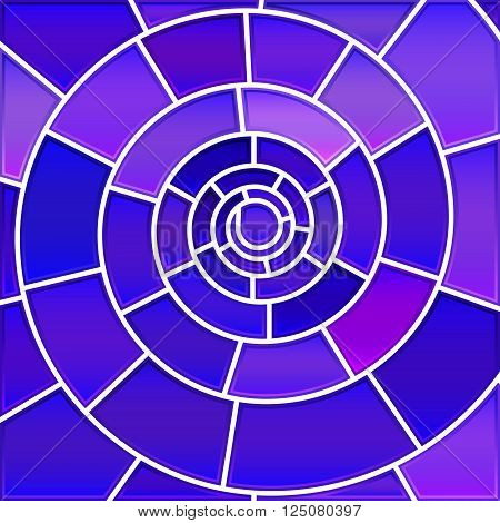 abstract vector stained-glass mosaic background - purple and violet spiral