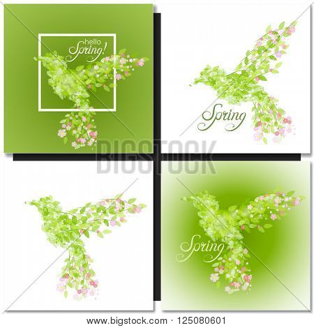 Set of spring green background with leaves and flowers shaped like bird. Bird shape springtime vector illustration