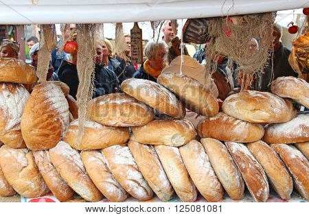 GDANSK, POLAND - JULY 30, 2015: Stall with homemade bread on the traditional summer fair in downtown Gdansk