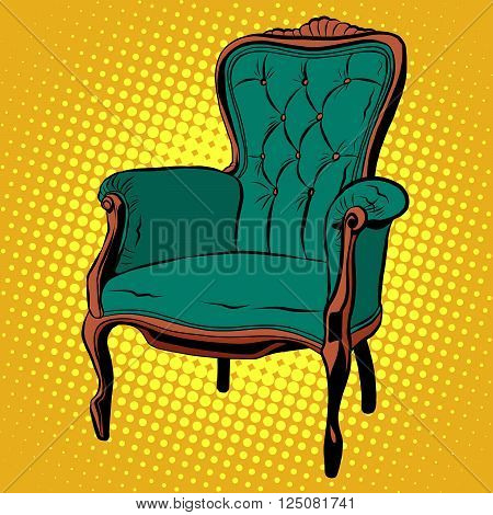 Green soft chair furniture armchair vector pop art retro style. retro classic chair. Illustration home chair