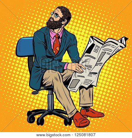 Bearded businessman reading a newspaper pop art retro style. News and press. Work in the office. Newspaper office