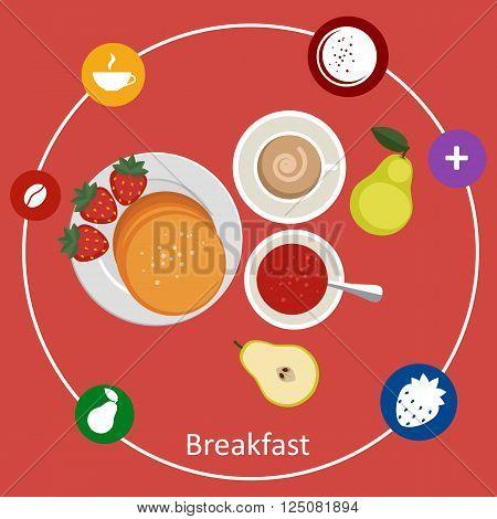 Flat design illustration concepts for light breakfast breakfast time.