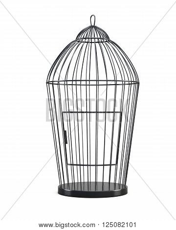 Metal bird cage isolated on white background. Front view. 3d rendering.