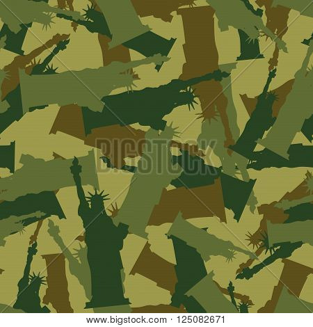 Statue Of Liberty Military Camouflage. American National Security Seamless Pattern. Army Soldier Tex