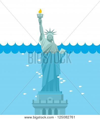 Statue Of Liberty Flood. Usa Attraction Underwater. American Symbol Filled With Water. Fish Swim In