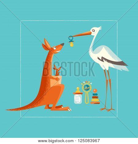 Birthday baby shower invitation card. A stork congratulates a kangaroo. Vector illustration