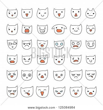 Emotions large set  36 pieces. Cat Smile. Emoji set cat. Anger and compassion. Laughter and tears. Smile and sadness. Sadness and surprise. Happiness and fear. Cats.  Cunning. Cheerful. Smile isolated