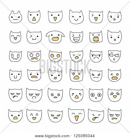 Emotions large set  36 pieces. Cat Smile. Emoji cat. Anger and compassion. Laughter and tears. Smile and sadness. Sadness and surprise. Happiness and fear. Cat. Smile. Anger. Cheerful. Smile isolated