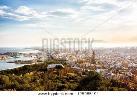 Malaga, Spain - September 08, 2015: View of the Santa Iglesia Cathedral Basilica of Lady of Incarnation, port and cityscape of Malaga, Spain