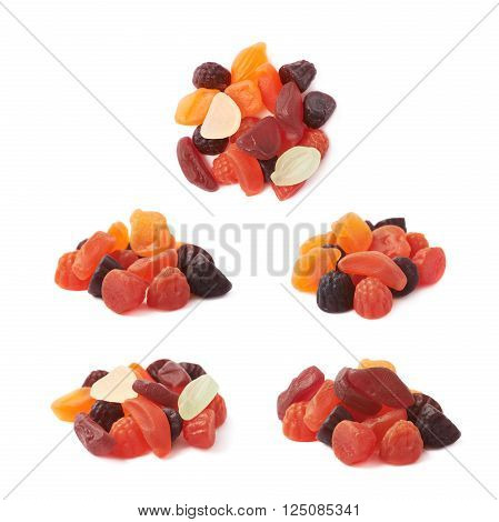 Pile of fruit shaped gelatin based chewy candies isolated over the white background, set of five different foreshortenings