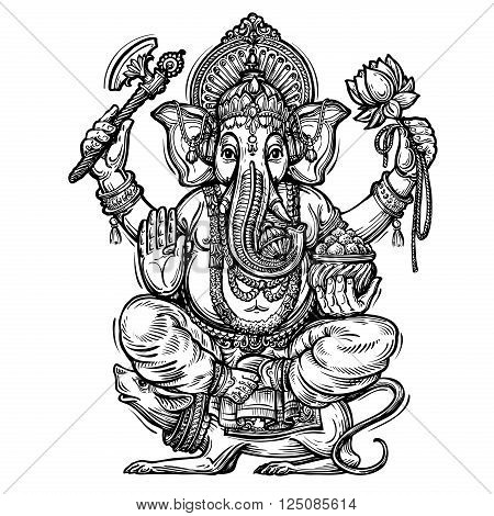hand-drawn Ganesh isolated on white background. vector illustration