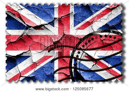 Postal stamp: Grunge Great britain flag with some cracks and vintage look