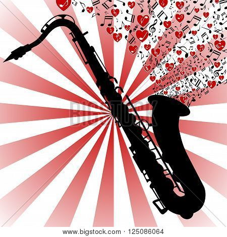 Illustration saxophone playing romantic music as a symbol of love.
