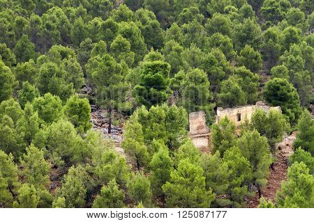 Moroccan ruins near Moulay Idriss, the holy town in Morocco, named after Moulay Idriss I, arrived in 789 bringing the religion of Islam
