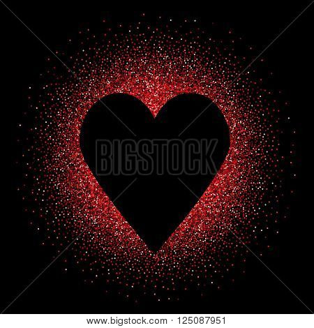 Black heart on the red glittering background. Design template for wedding romantic love cards invitations and etc