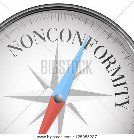 detailed illustration of a compass with nonconformity text, eps10 vector