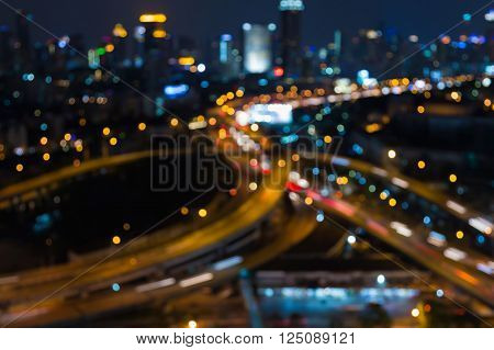 City road interchange night view, abstract blurred bokeh light background
