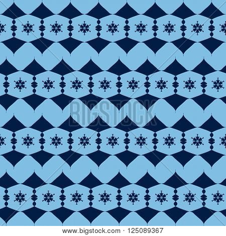 seamless pattern from the blue alternating abstract figures. vector illustration