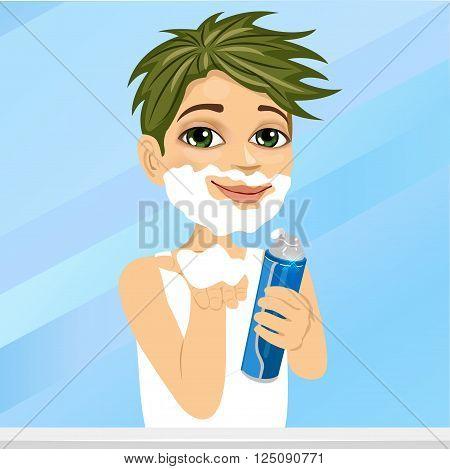 Portrait of adorable little boy pretending to shave holding shaving cream