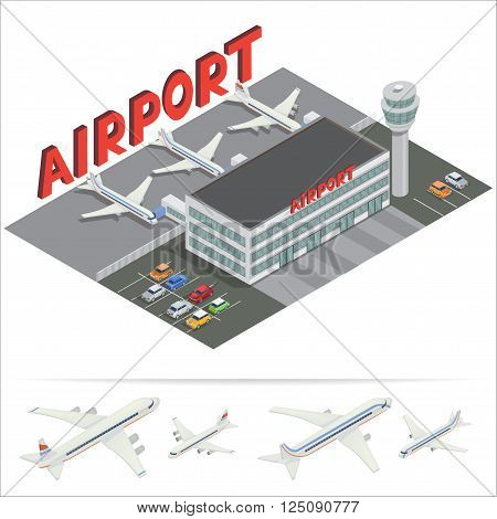 Isometric Airport Building. Airport Terminal with Planes. Travel Air. Passenger Airplane. Vector illustration
