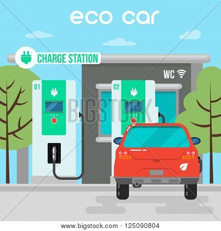 Electric Car. Eco Car on Charging Station. Green Energy. Electric Vehicle. Vector Illustration