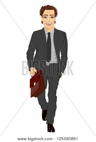 Young handsome business man with briefcase walking forward isolated on white background