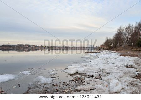 View of Neva River on the outskirts of St. Petersburg at sunny spring evening Russia. ** Note: Soft Focus at 100%, best at smaller sizes