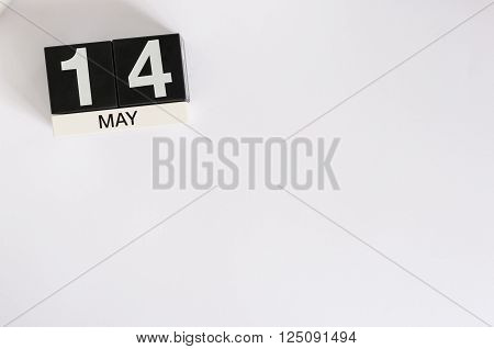 May 14th. Image of may 14 wooden color calendar on white background.  Spring day, empty space for text. Astronomy Day. World Fair Trade DAY.