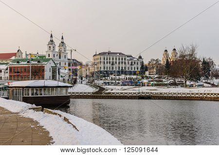 Minsk, Belarus - March 5: historic and cultural center of Minsk Svisloch river embankment in winter in March 5, 2016, in Minsk, Belarus.