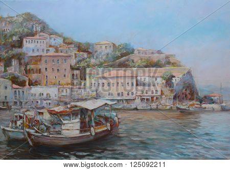 Hydra island, handmade oil painting on canvas