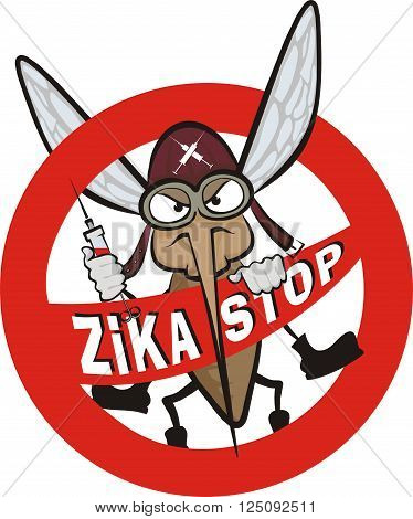 zika virus vector warning sign - masquito plaque