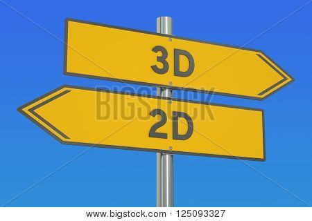 3D vs 2D concept 3D rendering isolated on white background