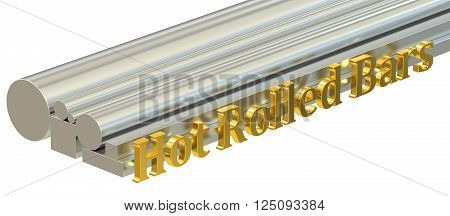 Hot rolled bars concept rolled metal. 3D rendering
