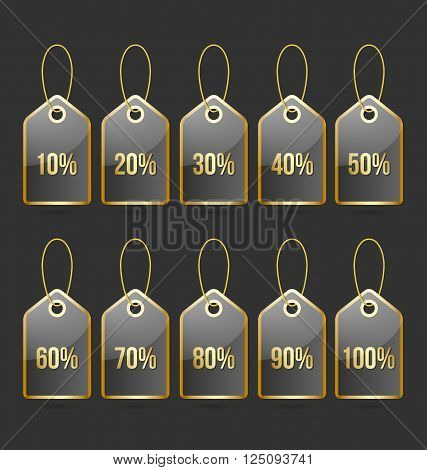 Set of golden and black bargain price tags with percentage numbers